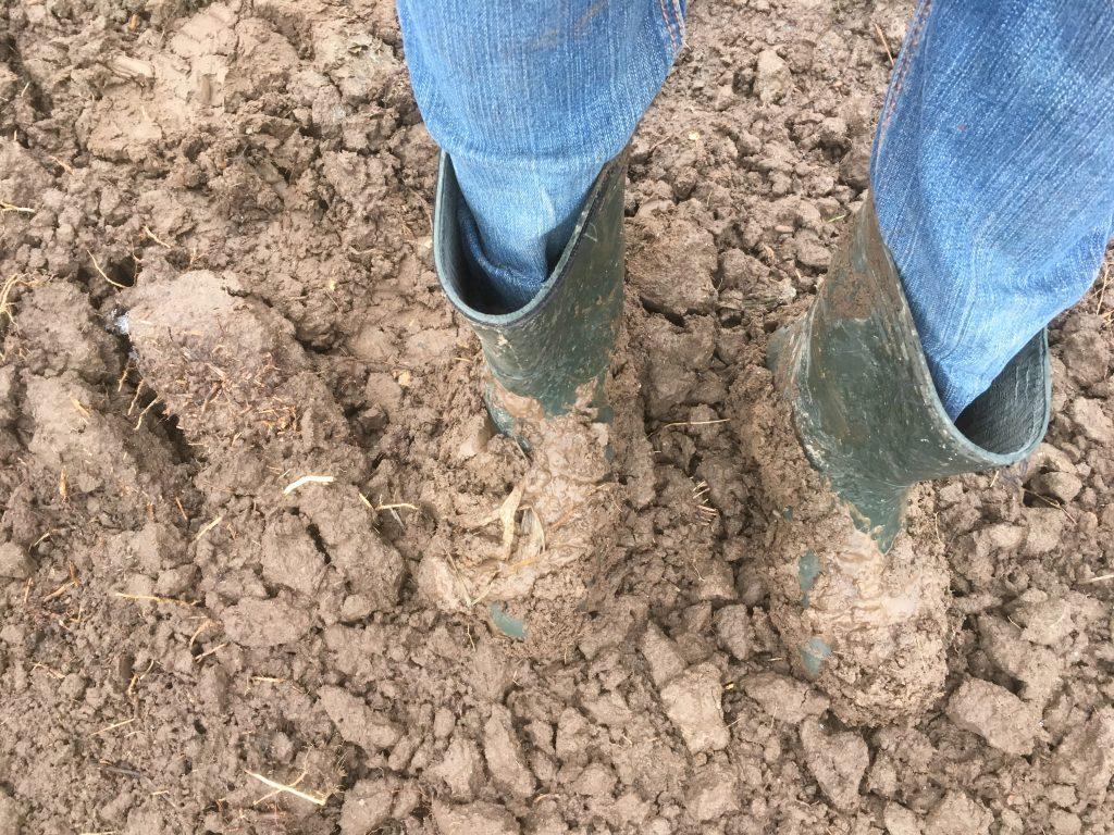 На ногах и катушке из-за дождя и снега были гири)